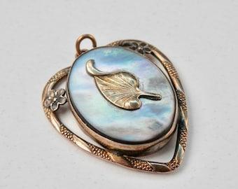 12K Gold Filled Sterling Silver Mother of Pearl Heart Locket Providence Stock Company PR. ST. Co. Heart Pendant Vintage Valentine Locket