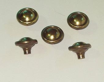 Vintage Cabinet Furniture Hardware Knob Pull Set 5 Round Solid Brass Retro Hardware Woodworking Supply sm
