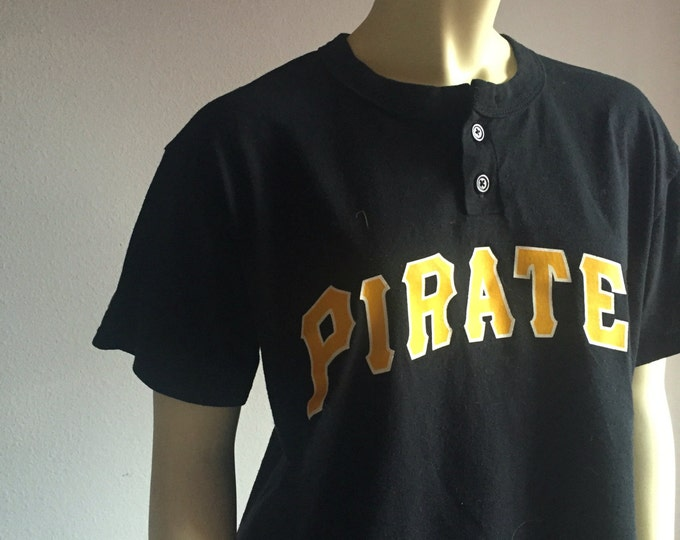 90s PIRATES black and yellow short sleeve cotton vintage unisex men women tee tshirt medium M classic button up henley patch athletic kitsch