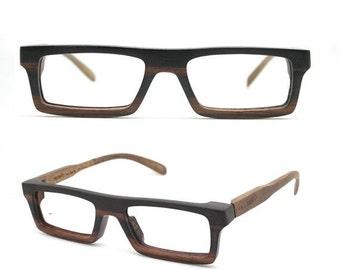 Christmas 30% OFF very square Ebony Never Handmade Wooden Takemoto Brown prescription  RX Sunglasses