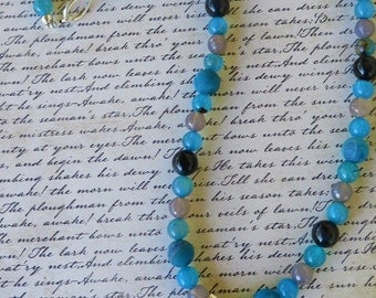 Blue Druzy Agate And Tigers Eye Beaded Necklace With Blue Agate Pendant