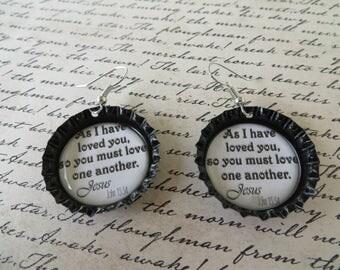 Love One Another Bottle Cap Earrings