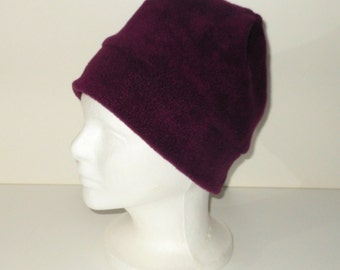 Raisin/Mulberry Colored Adult Fleece Beanie With Extra Warmth Band - Gift For Her - Gift For Him - Winter Hat - Birthday Gift