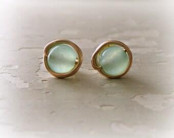 Sea Green Studs, Wire Wrap Posts, Stud Earrings Stone, Gold Stud Earrings, Light Green Studs, Gemstone Studs, Light Green Posts, Gold Posts