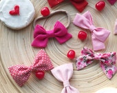 SALE!! V-Day bows, pink and red baby girl headband or clip
