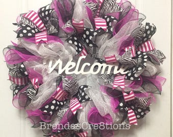 Wreath, Welcome Front Door Sign, Deco Mesh Decor, Wedding Gift Ideas, Breast Cancer Awareness, Hot Pink Wall Art, New Home Housewarming Gift