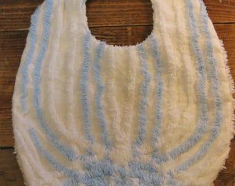 Chenille Baby Bib, Pastel blue on white