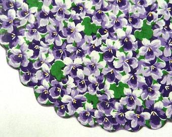 Round Handkerchief, Purple Violets, Green Leaves, Rolled Hem.