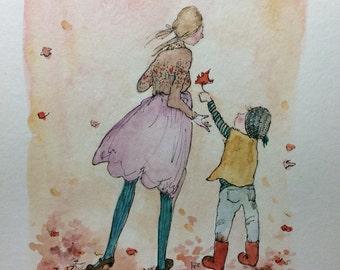 Original watercolor art. Original watercolor painting. Unframed wall art. 8.5x11 original nursery, childrens art. Mother and son painting.