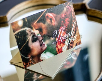 """Red and Gold, Indian Wedding, Henna Stationery, Wedding Thank You Cards, Picture - """"Modern Henna"""" Folded Photo Thank You Cards - DEPOSIT"""