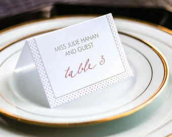 """Coral and Gold Reception Dinner Placecards, Dots Wedding Placecards, Fun Seating Cards - """"Modern Calligraphy"""" Tented Placecard v4 - DEPOSIT"""