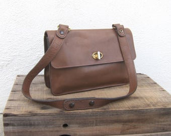 70s Ronay Vintage Brown Leather Small Satchel Handbag Shoulder Bag