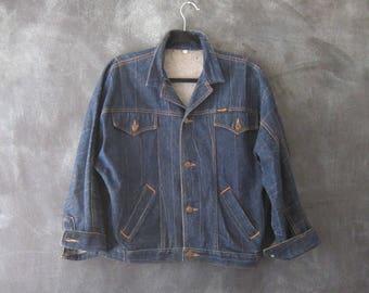 80s Wrangler Dark Denim Jean Jacket Western Wear Hippie Boho Bohemian Ladies Size M