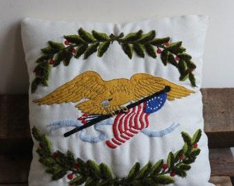 Embroidered Americana Folk Art Eagle Pillow - American Eagle Yellow Bird Needlepoint