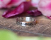 Nevertheless, She Persisted Sterling Silver Ring - Rustic Silver - Feminist Resistance - Supports Planned Parenthood
