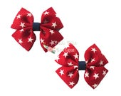 Girls July 4th Hair Bows, Baby Girl Hair Bows, 4th of July Hair Clips with Stars, Baby Bows, Baby Hair Bows, Toddler Hair Bows, Pigtail Bows