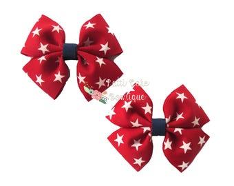 Girls July 4th Hair Bows/Baby Girl Hair Bows/4th of July Hair Clips with Stars/Baby Bows/Baby Hair Bows/Toddler Hair Bows/Pigtail Bows