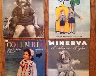 Vintage 1930's 1940's Columbia Minerva Juvenile Baby Knitting Magazine Lot Instructions Patterns