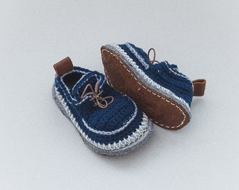 Children Boot-laced Boots in dark blue with bright grey trim - House Shoes - Children U.S. sizes 8-13/EUR 25-31