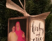 Personalized Engagement Block Ornament - Brown Distressed