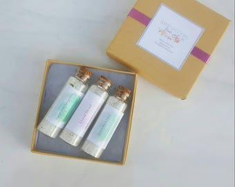 All Natural Bath Salt Vial Trio Set. Spa Gift Set. Bridesmaid Gift. Gifts for her.
