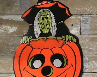 Vintage Witch and Pumpkin Die-cut Cutout