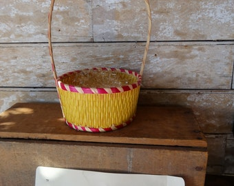 Vintage Retro Easter Woven Basket Yellow Sweet Shabby Chic 1950s
