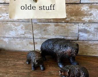 Vintage Black Bear Figurine With 2 Cubs