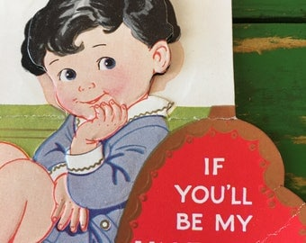 Vintage Valentine Card Boy Sweet 1950's or Earlier Retro