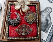Antique French Religious Brooch Destash/Lot, Lourdes Monogram Brooches, offered by RusticGypsyCreations