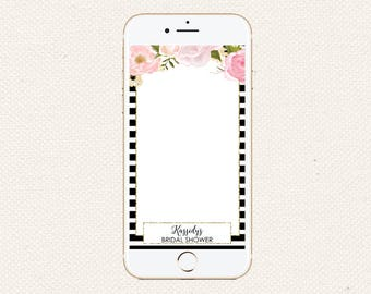 Striped Floral Snapchat Filter | Black White Stripe Snapchat Filter | Snapchat GeoFilter Wedding Baby Shower Birthday |