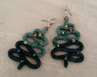 Crochet Tube Christmas Tree Earrings, Christmas Jewelry Holiday Party Christmas Gift Novelty Earrings Stocking Stuffer