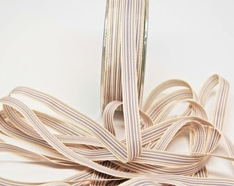 Striped Grosgrain Ribbon -- 3 / 8 inches -- Dove Grey Cream 3 yds