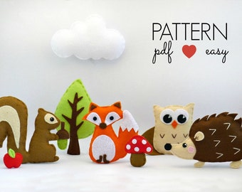 Woodland Mobile Sewing Pattern, DIY Baby Mobile Pattern, Felt Woodland Mobile, Felt Woodland Stuffed Animal Sewing Patterns, Felt Plushie