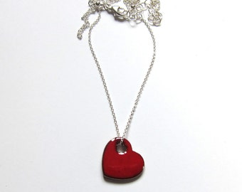 Dainty red enamel heart necklace Tiny sweetheart necklace Romantic gift Handmade red heart pendant