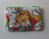 Rainbow Brite Zipper Pouch - Small Zip Pouch Coin Purse Wallet - Upcycled made from vintage fabric