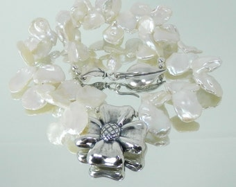 Lustrous White Freshwarter Petal Pearls, Sterling Dogwood Flower Necklace with Leaf Clasp