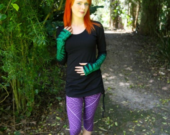 Long Sleeved T-Shirt - Ferny Forest Print - Black with Green Ferns - Long Sleeve Top