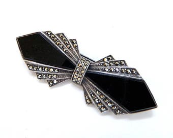 "Vintage Art Deco Sterling Silver Marcasite Black Onyx Brooch -  Antique Bow Ribbon - 2 3/4"" Long - Estate Piece - Bridal Jewelry"