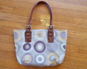 Purple Gray Mauve Handbag Modern Print Circles Geometric Print Purse