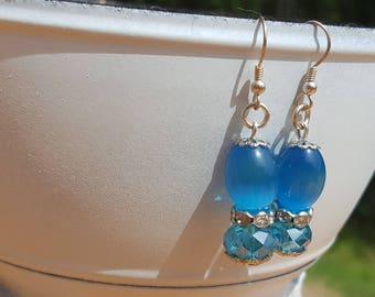 Blue Silver Rhinestone Earrings Drop Dangle Earrings Beach Boho Summer Free U.S. Shipping