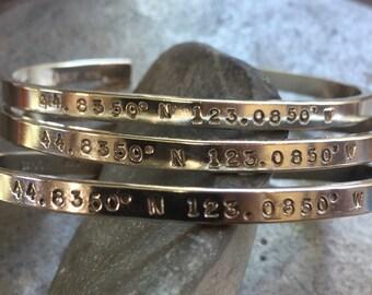 Coordinates cuff longitude latitude cuff bracelet