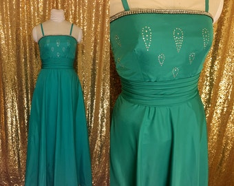 1960s Vintage Gown // Kelly Green Ball Gown Prom Dress // Rhinestone Full Length Formal Dress // Bridesmaid Dress Holiday Party Dress