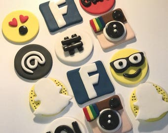 Fondant Social Media Cupcake, Cake, Cookie Toppers Set of 12