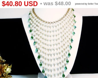 Spring Sale Art Deco Pearlescent Beaded Bib Necklace - Runway Style with Green Aurora Borealis Iridescent Beads - Statement Pearl Jewelry