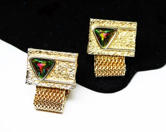 Gold Tone Rectangle Cuff Links - Mesh Fold Over CuffLinks - Watermelon Faceted Glass Rhinestone Triangles - Vintage 1950s Mid Century