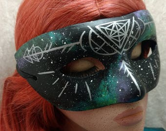 Blue Green Galaxy Mask with Silver Sacred Geometry