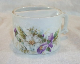 Vintage Antique Beautiful Moustache Cup Mug White and Purple Floral Design