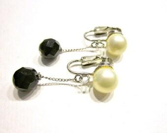 Vintage Pearl Black Dangle Earrings Clip Back Long Dangle Earrings Gift for Her Gift for Mom Gift Idea under 20