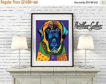 50% Off Today- Mastiff Art -  Dog Art Modern  Art Print Poster by Heather Galler (HG611)